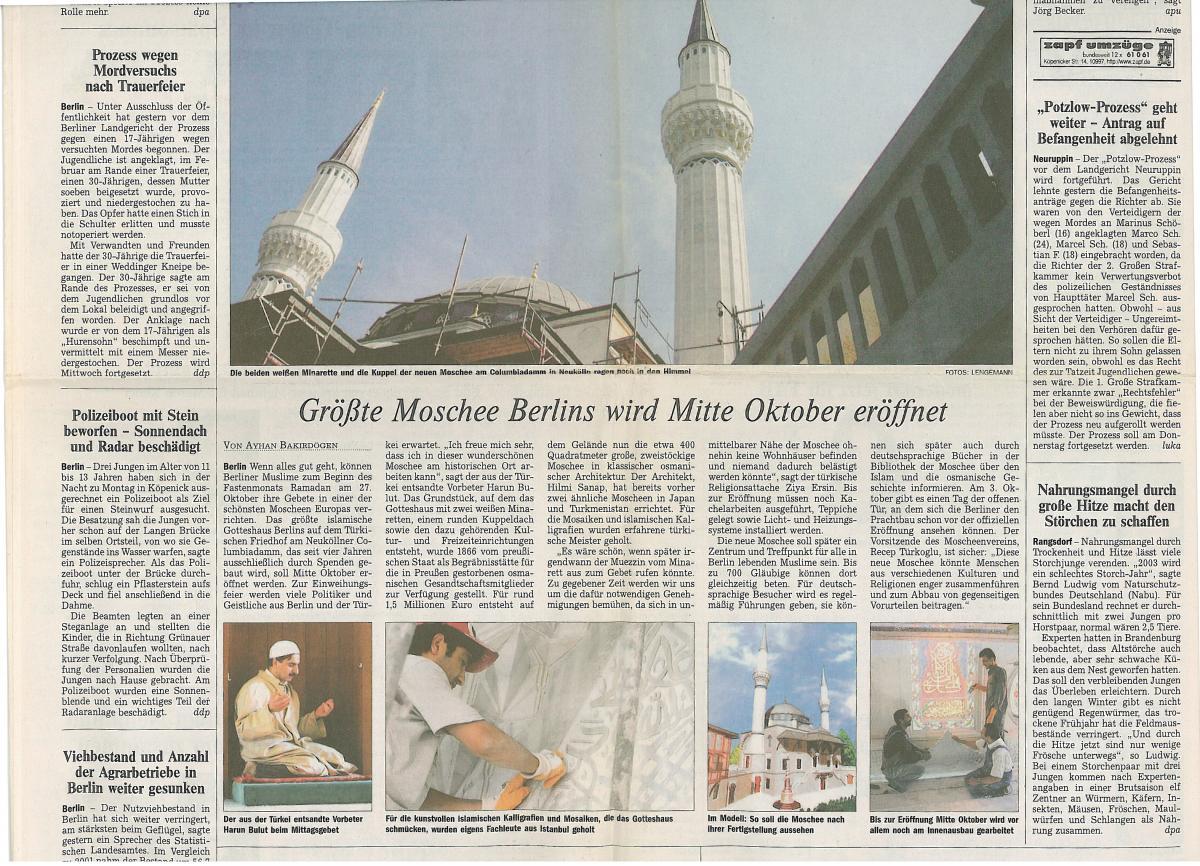 Die Welt- بشأن مسجد شهيدلك 12.08.03 - والمركز الثقافي في برلين (Shehitlik)